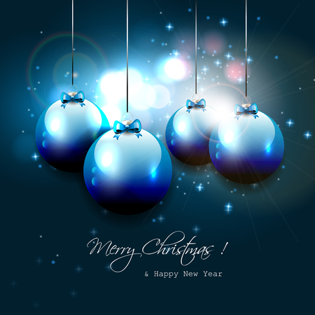Luxury blue Christmas background with baubles