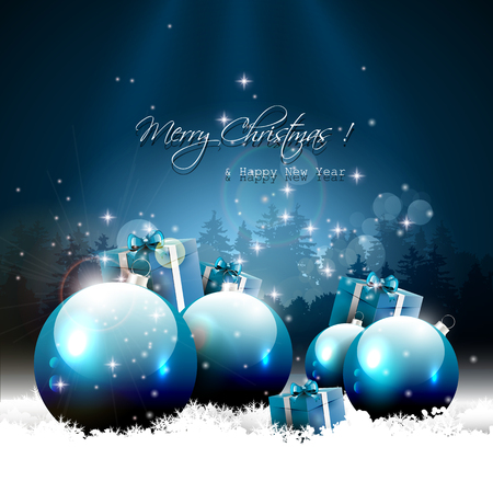 Modern Christmas greeting card with balls and gifts in snow