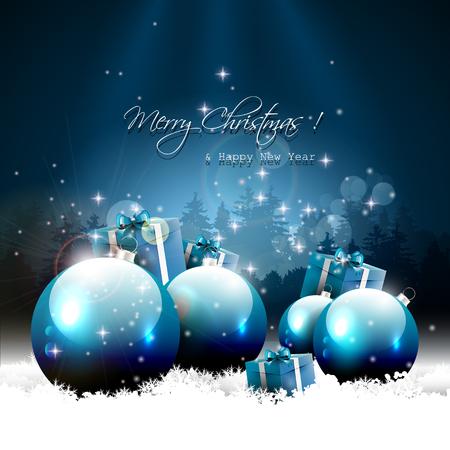 passing: Tarjeta de felicitaci�n de la Navidad moderna con bolas y regalos en la nieve