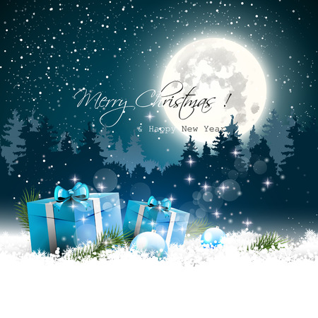 sylvester: Christmas night - background with gift boxes and baubles in the snow - vector background