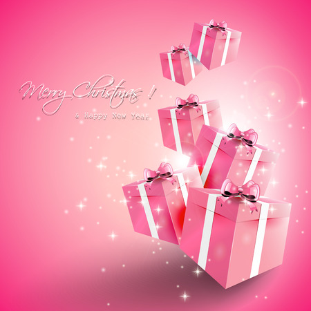 Modern pink Christmas greeting card with gift boxes on the bright background