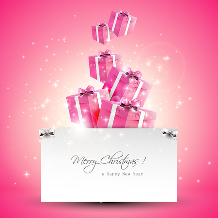Modern pink Christmas greeting card with copyspace
