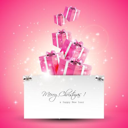 Moderne roze Kerst wenskaart met copyspace