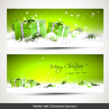 Set of two green horizontal Christmas banners with gift boxes in snow