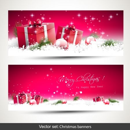horizontal: Set of two red horizontal Christmas banners with gift boxes in snow