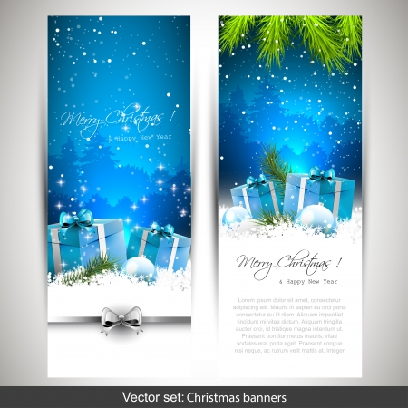 눈이 선물 상자와 두 개의 수직 크리스마스 배너의 집합