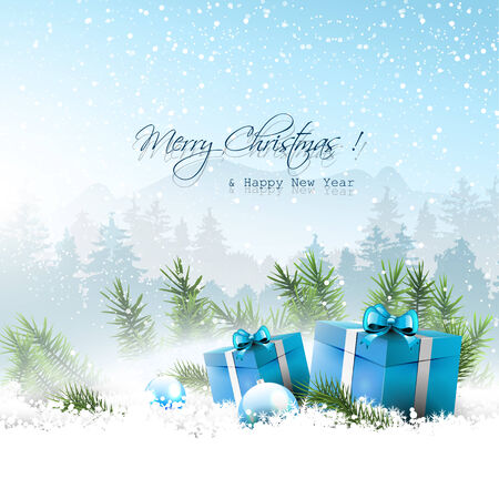 Christmas winter landscape with blue gift boxes in snow