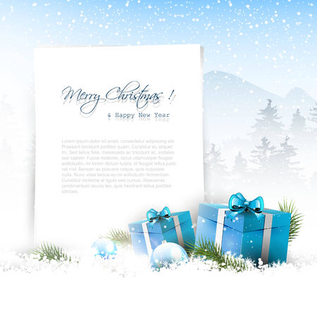 sylvester: Christmas winter landscape with blue gift boxes and copyspace