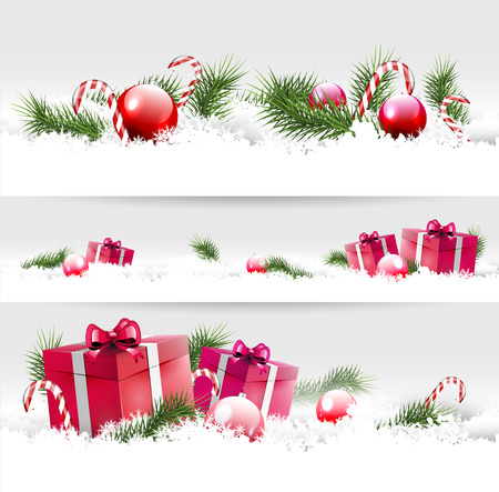 Set of three Christmas borders with gifts, balls and branches   Vector