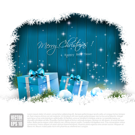 glitter gloss: Christmas greeting card with blue gift boxes in snow and withcopyspace