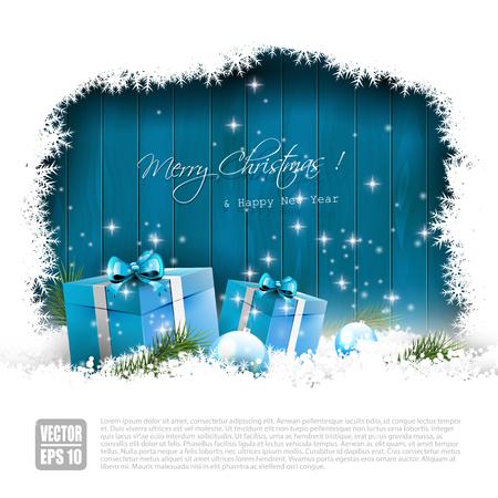 passing: Tarjeta de felicitaci�n de Navidad con cajas de regalo azul en nieve y withcopyspace Vectores