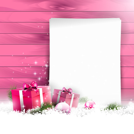 Pink Christmas background with empty paper and gift boxes in snow on wooden background Stock Vector - 24250095