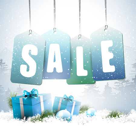 Christmas sale - vector background with sale tags and gift boxes in snow Stock Vector - 24250096