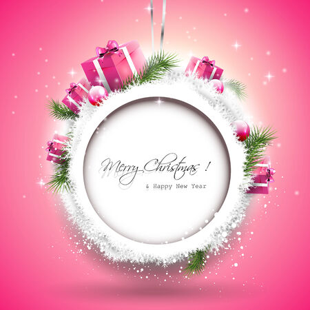 Christmas background with gift boxes and branches in snow Stock Vector - 24250093