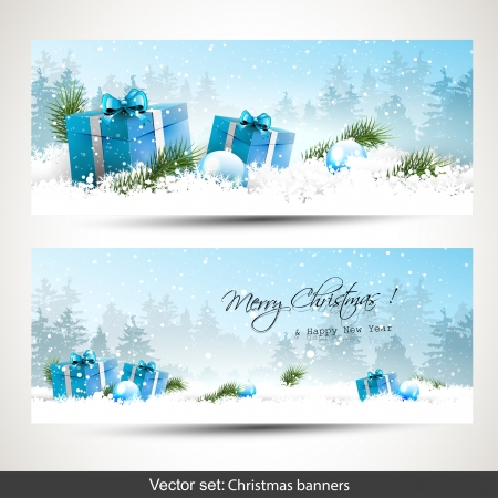 Set of two Christmas banners with blue gift boxes in snow