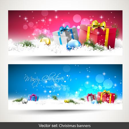 Set of two colorful horizontal Christmas banners   Vector