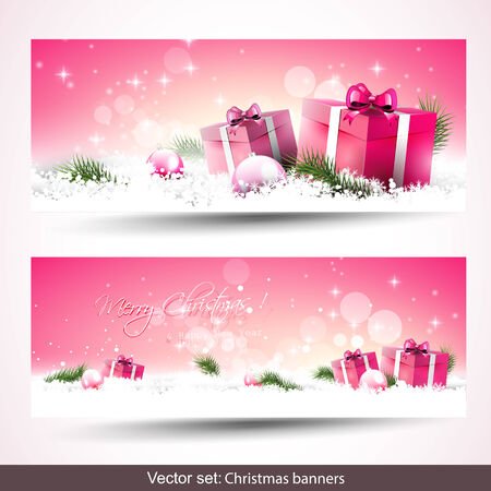 Set of two sweet pink Christmas banners Vector
