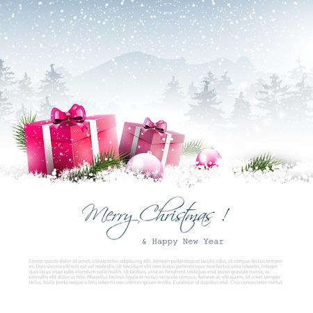 landscape: 聖誕冬季景觀與粉紅色禮品盒和copyspace