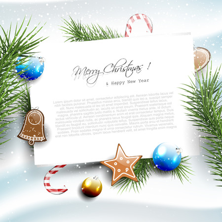 Christmas greeting card with empty paper on the snow and with decoratons