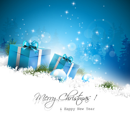 Christmas blue greeting card with gift boxes and branches in snow Stock Vector - 24250134