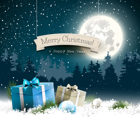 Christmas background with gift boxes and balls in snow