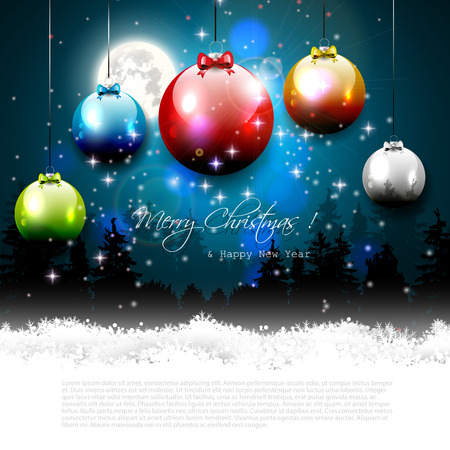 Christmas greeting card with colorful balls in night landscape Stock Vector - 24250130
