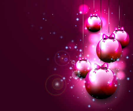 Luxury pink Christmas background with baubles and copyspace