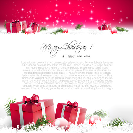 sylvester: Red Christmas greeting card with gift boxes and branches in snow and with place for text