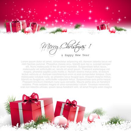 Rote Weihnachtskarte mit Geschenk-Boxen und Niederlassungen in Schnee und mit Platz für Text