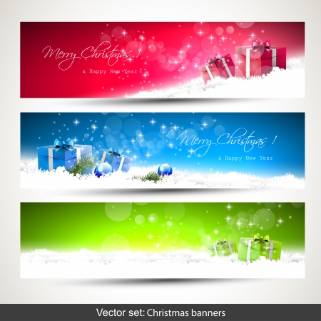 three gift boxes: Set of three horizontal Christmas banners with snow and gift boxes