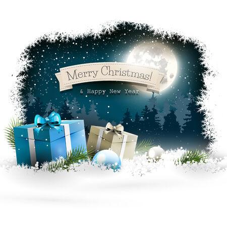 passing: De fondo de Navidad con cajas de regalo y bolas de nieve