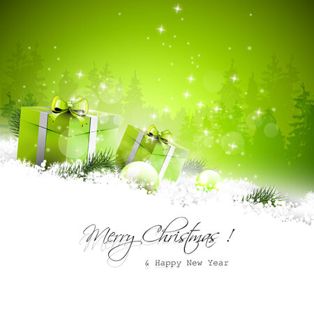 Christmas greeting card with gift boxes and branches in snow Vector
