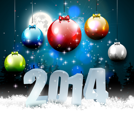 Happy New Year 2014 - colorful background