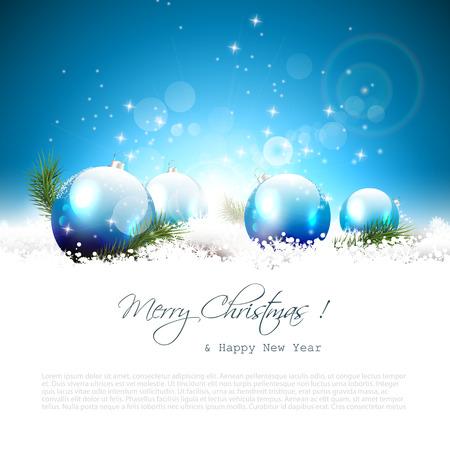 Carte de voeux de Noël avec des boules et des branches dans la neige Banque d'images - 24250128