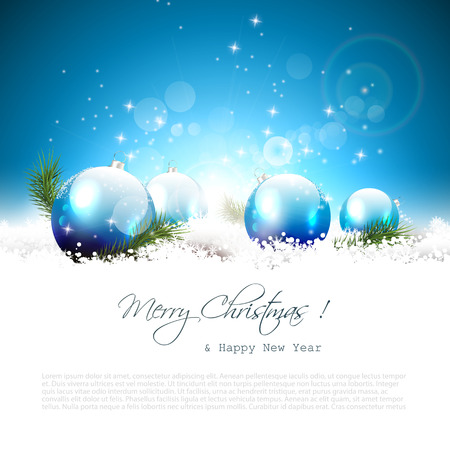glitter ball: Christmas greeting card with balls and branches in snow