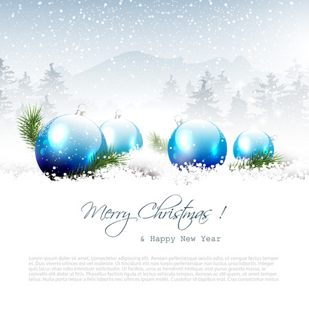 christmas bauble: Christmas winter landscape with blue balls and copyspace Illustration