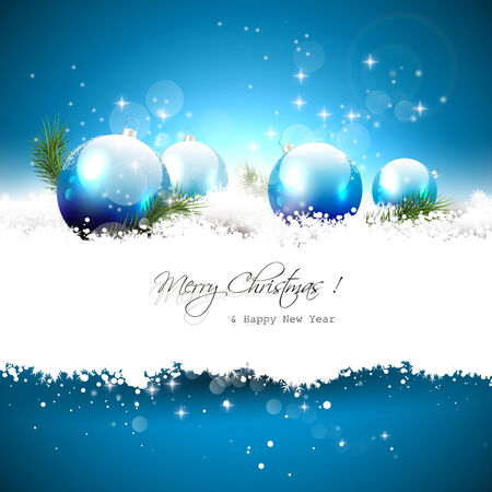 Christmas greeting card with balls and branches in snow Stock Vector - 24250149