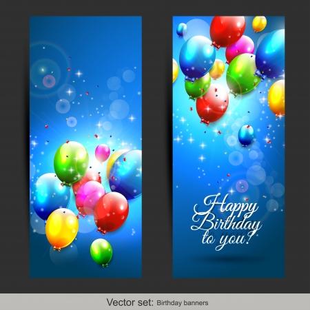 Conjunto de dos banderas verticales de cumpleaños con globos que vuelan