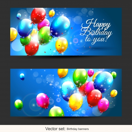 Set of two horizontal birthday banners with flying baloons Vector