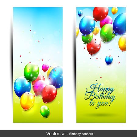 invitacion fiesta: Conjunto de dos banderas verticales de cumplea�os con globos que vuelan