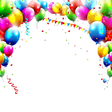 Coloful birthday balloons isolated on white background   Ilustração