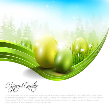 lensflare: Sweet Easter background with eggs and copyspace