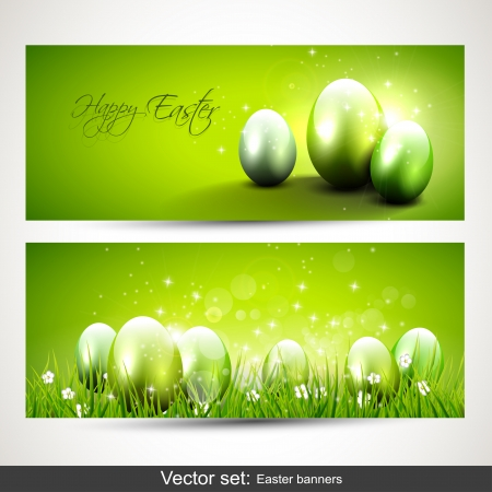 Set of two horizontal Easter banners with eggs Vector
