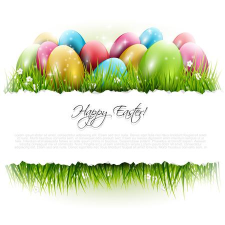 Achtergrond van Pasen met eieren in het gras en met copyspace