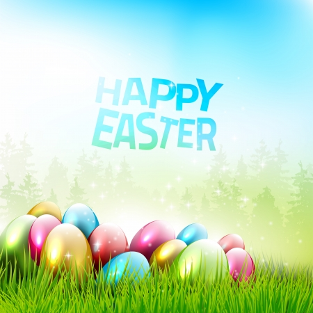 Easter greeting card with easter eggs in grass