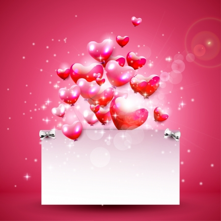 Valentine's Day pink background with hearts and empty paper  Stock Vector - 25121780
