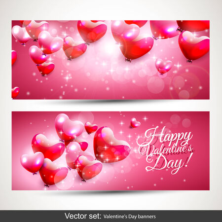 Set of two horizontal Valentine's Day pink banners Stock Vector - 25121782