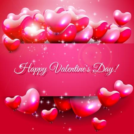 for text: Giorno rosa biglietto di auguri di San Valentino con cuori e luogo per il testo Vettoriali
