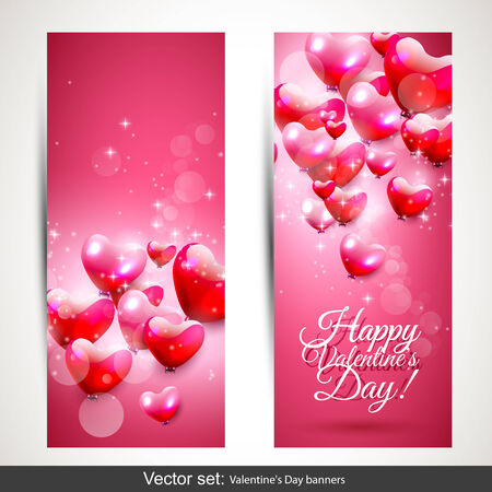 Set of two vertical Valentine's Day pink banners Stock Vector - 25121784