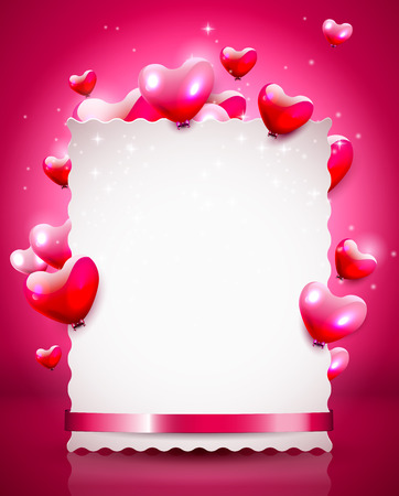 Modern Valentine background with empty paper an flying hearts   Vector